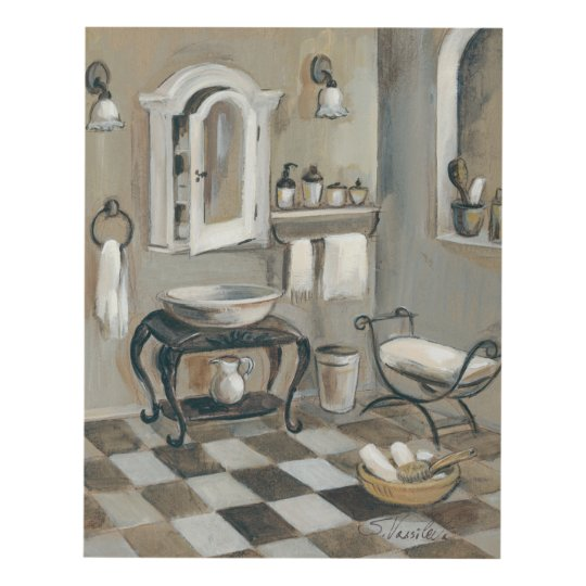 Black and White Tiled French Bathroom Panel Wall Art ...