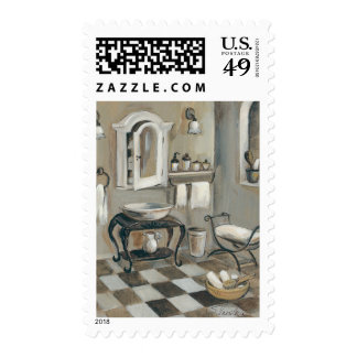 Black and White Tiled French Bathroom Postage