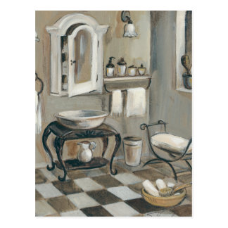 Black and White Tiled French Bathroom Postcard