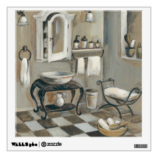 Black and White Tiled French Bathroom Wall Decal