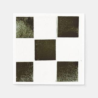Black and white tiles paper serviette napkin