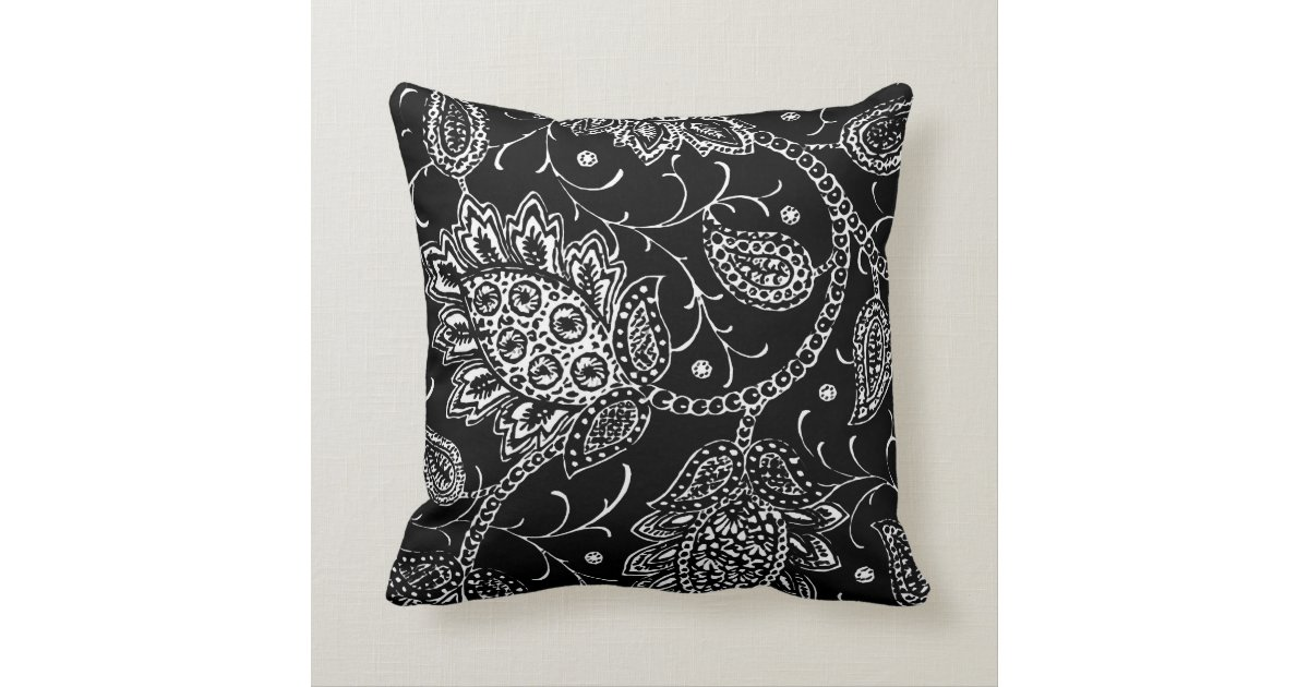 Black and White Toile Floral Accent Pillow Zazzle