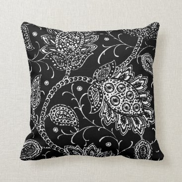 Black and White Toile Floral Accent Pillow