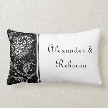 Black and White Toile Personalized Name Pillow