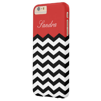 Black And White Tomato Red Chevron Custom Monogram Barely There iPhone 6 Plus Case