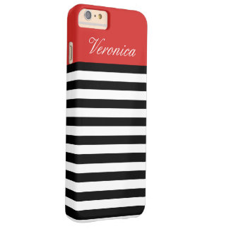 Black And White Tomato Red Stripes Custom Monogram Barely There iPhone 6 Plus Case