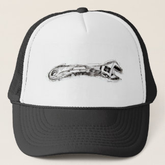 Black and White Tool Drawing Wrench Trucker Hat