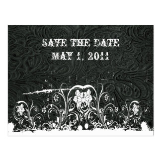 Black and White Tooled Leather Save the Date Postcard