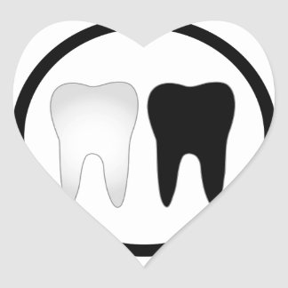 Black and white tooth heart sticker