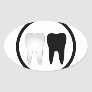 Black and white tooth oval sticker