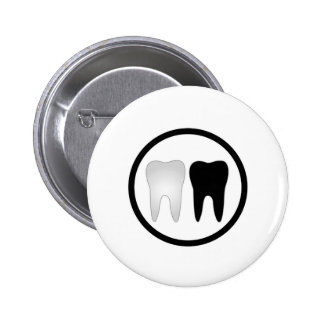 Black and white tooth pinback button