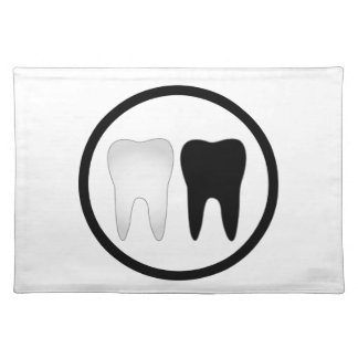 Black and white tooth placemats