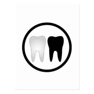Black and white tooth postcard