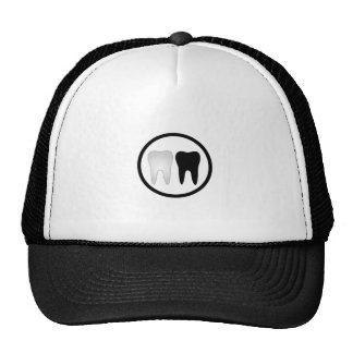 Black and white tooth trucker hat