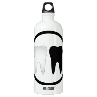 Black and white tooth water bottle