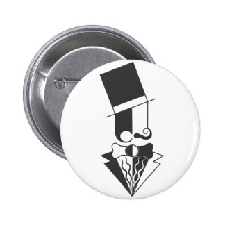 Black and White Top Hat Man Button