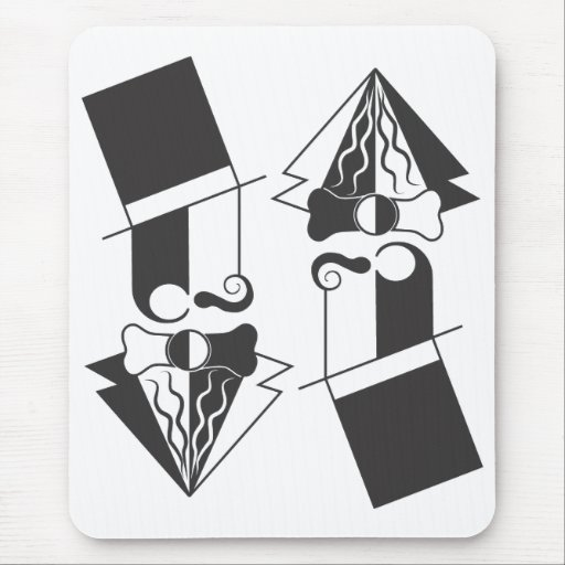 Black and White Top Hat Man Mouse Pad
