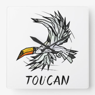 Black and white toucan bird square wall clock