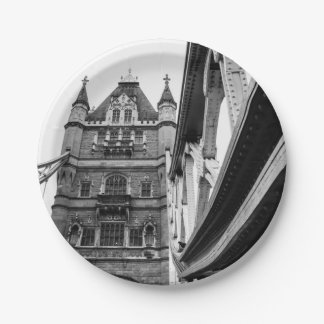 Black and White Tower Bridge Closeup, London Paper Plate