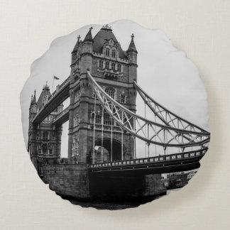 Black and White Tower Bridge, London UK Round Pillow