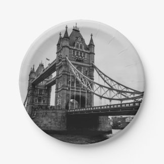 Black and White Tower Bridge, London UK 7 Inch Paper Plate