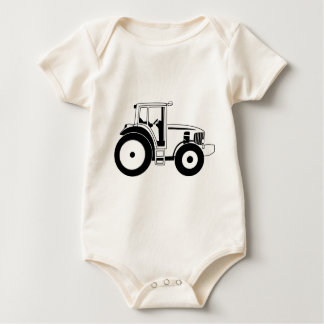 Black and White Tractor Baby Bodysuit