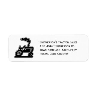 Black and White Tractor Graphic Label