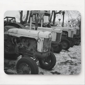 Black and white tractor mousepad