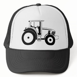 Black and White Tractor Trucker Hat