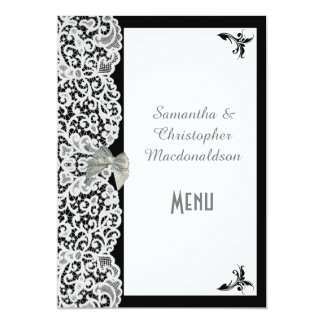 Black and white traditional lace wedding menu card