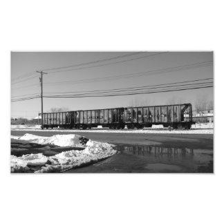 black and white train in snow photo print