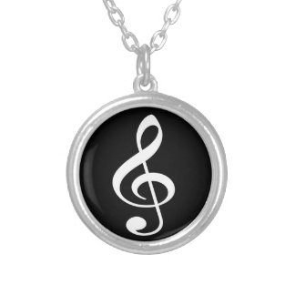 Black and White Treble Clef Music Necklace