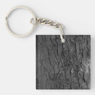 Black and white tree bark keychain