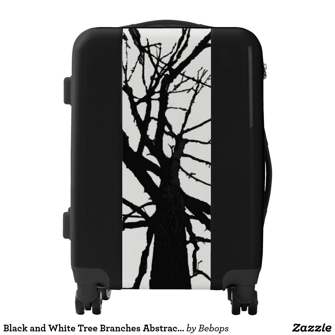 Black and White Tree Branches Abstract Luggage