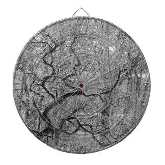 black and white tree dartboard