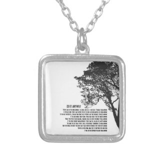 Black and White Tree Do It Anyway Square Pendant Necklace