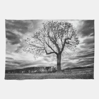 Black and white Tree kitchen Tea towel