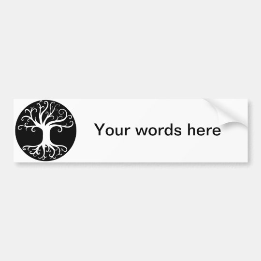 Black and White Tree of Life Bumper Sticker