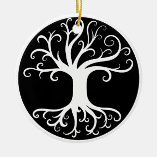 Black and White Tree of Life Ceramic Ornament