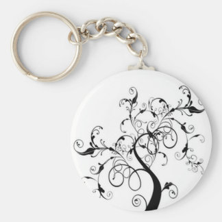 Black And White Tree Of Life Keychain