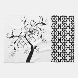 Black And White Tree Of Life Towels