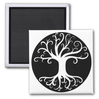 Black and White Tree of Life Magnet