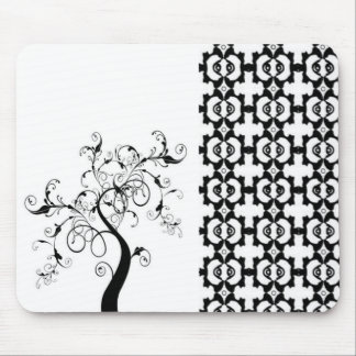 Black And White Tree Of Life Mouse Pad