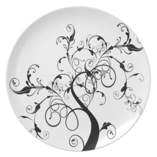 Black And White Tree Of Life Plate