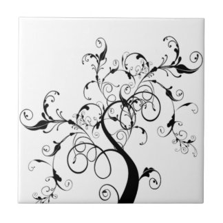 Black And White Tree Of Life Ceramic Tile