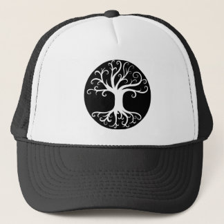 Black and White Tree of Life Trucker Hat