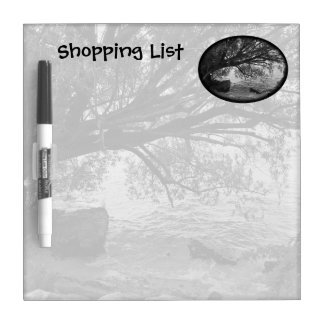 Black and White Tree Shopping List Dry-Erase Board