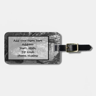 Black and White Tree Silhouette Bag Tag