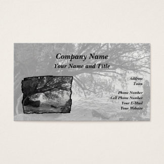 Black and White Tree Silhouette Business Card