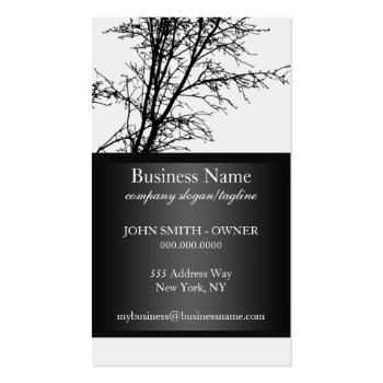 Black and White Tree Silhouette Business Cards